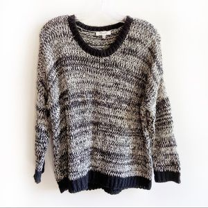 Madewell black marled sweater open knit cropped